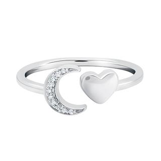 Sterling silver moon and heart ring