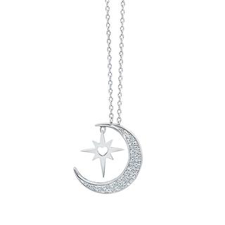 Sterling silver moon and North Star