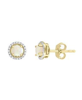 Diamond and Australian opal earrings in yellow gold