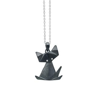Sterling silver origami black cat pendant