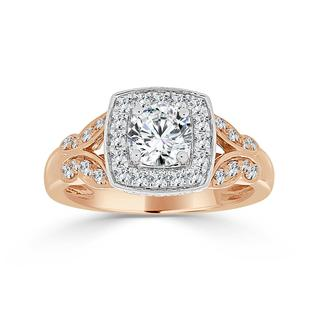 Two tone European style semi engagement ring