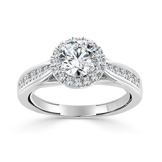 White gold diamond semi mount engagement ring