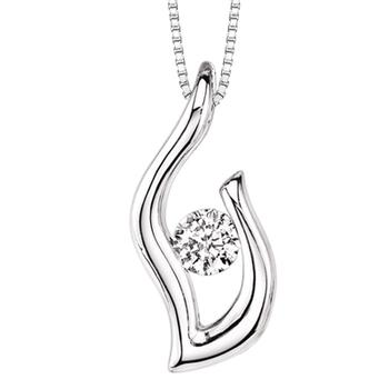 Sterling silver diamond flame pendant