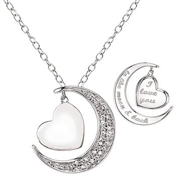 Sterling silver heart and moon pendant