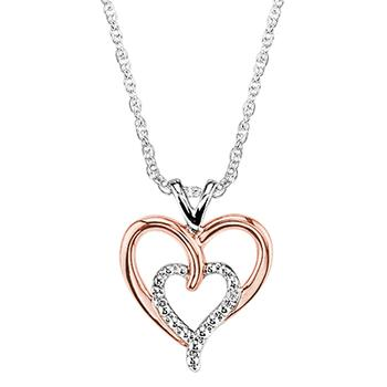 Sterling silver rose and white heart pendant