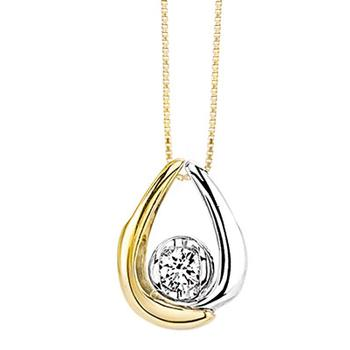 Sirena two tone diamond pendant