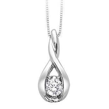 Sirena white gold twist diamond pendant