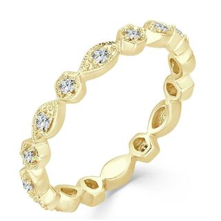 Yellow gold diamond anniversary band