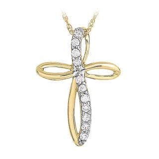 Yellow gold diamond cross pendant
