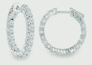 White gold In Out Hoops