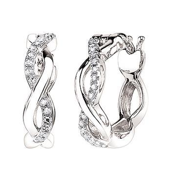 White gold diamond infinity earrings