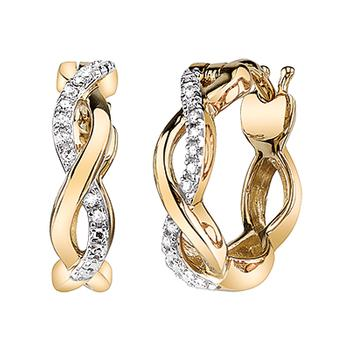 Yellow gold diamond infinity earrings