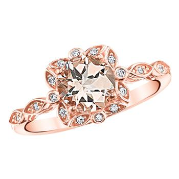 Rose gold diamond morganite ring