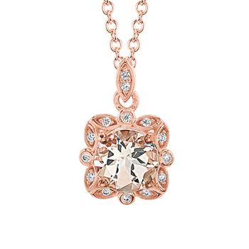 Rose gold diamond morganite pendant