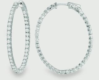White gold In Out diamond hoops