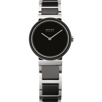 Bering watch with silver ceramic strap
