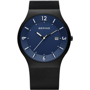 Bering solar watch with black mesh strap