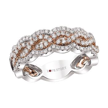 Two tone diamond infinity band