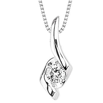 Sirena white gold single diamond pendant