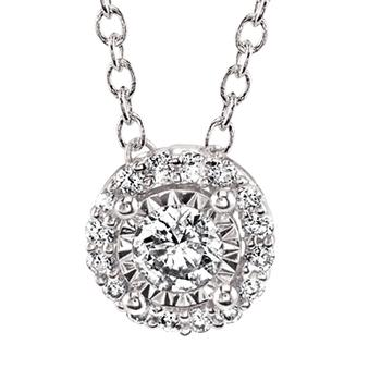 Miracle Mark diamond halo pendant