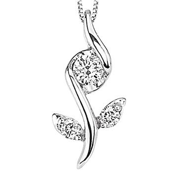 White gold Sirena flower pendant