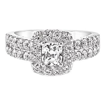 Love Story engagement ring with cushion cut diamond