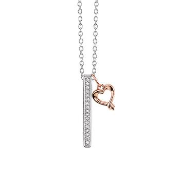 Sterling silver diamond bar with gold heart