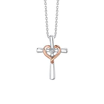 Sterling silver cross with gold heart
