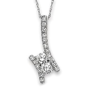 Twogether sterling silver diamond pendant