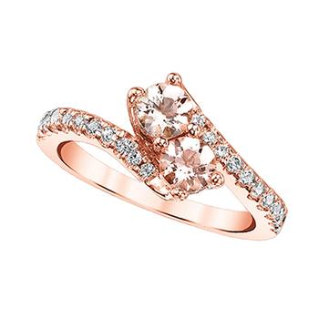 Rose gold 2 stone morganite and diamond ring
