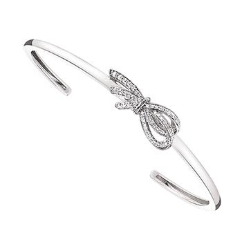 Sterling silver diamond bow cuff bangle