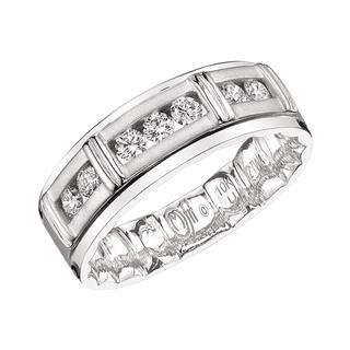 Men's white gold diamond Mfit wedding band