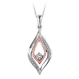 Colorless diamond two tone pendant