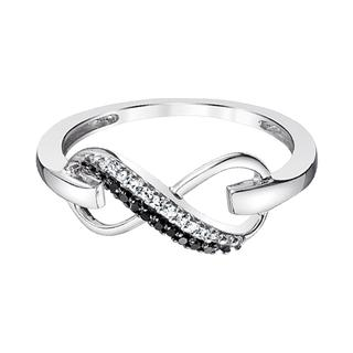 Sterling silver black and white diamond infinity ring