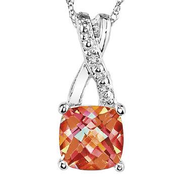 Sterling silver pendant with malibu sunset and  diamonds