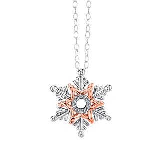 Sterling silver pendant with rose gold and diamond accents