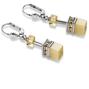 CDL yellow glass cube earrings