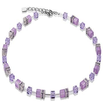 CDL  mauve glass cube necklace