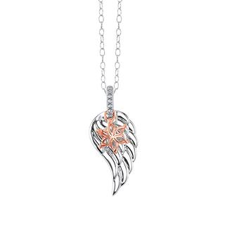 Sterling silver angel wing pendant with rose gold and diamond accents