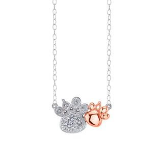 Sterling silver with rose gold plating paws pendant