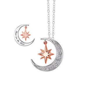 Sterling silver moon and star pendant