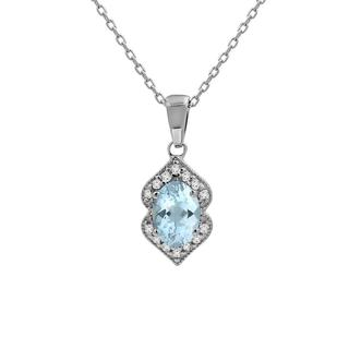 White gold aquamarine and diamond pendant