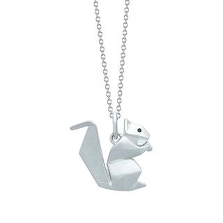 Sterling silver origami squirrel pendant