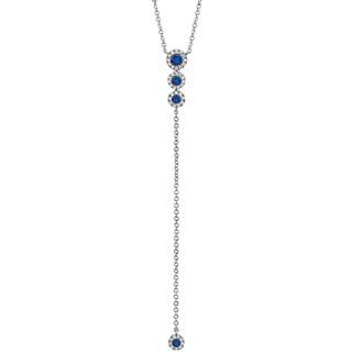 Diamond and blue sapphire lariat necklace in rose gold