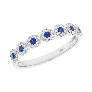 Diamond and sapphire white gold band