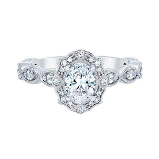 White gold engagement ring with oval center