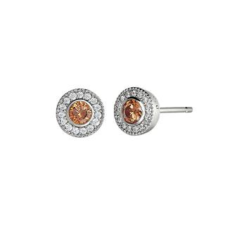 Sterling silver earrings with simulated citrine and simulated diamonds