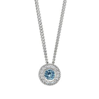Sterling silver pendant with simulated blue topaz and simulated diamonds