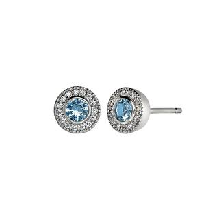Sterling silver earrings with simulated blue topaz and simulated diamonds
