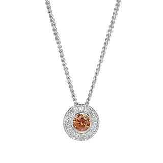 Sterling silver pendant with simulated citrine and simulated diamonds